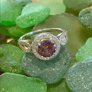 Rainbow Topaz Halo Ring with CZ band